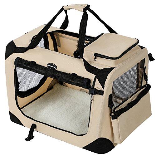 51BpInljepL - SONGMICS Faltbare Hundebox mit waschbarem Bezug, Kleine Stabile Transportbox Oxford Gewebe 60 x 40 x 40 cm PDC60W