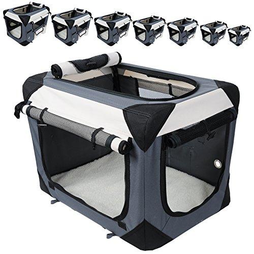 51G G1GR3gL - EUGAD Hundebox Hundetransportbox Auto Transportbox Reisebox Katzenbox Autobox Box mit Hundedecke Grau, S HT2059gr1
