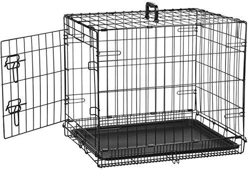 51ia r2kL6L - AmazonBasics Hundekäfig mit 1 Tür, Metall, zusammenklappbar, Gr. S