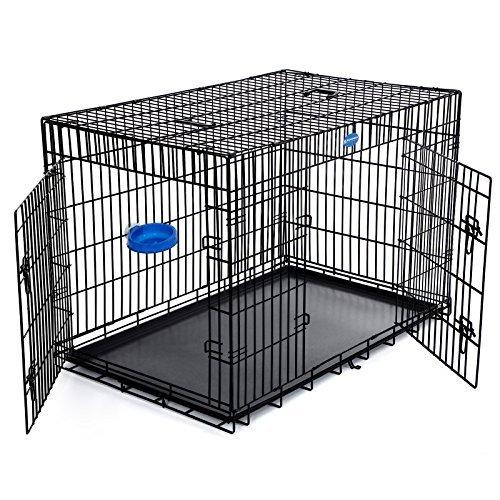 61W6TD1KsUL - SONGMICS Hundekäfig Hundebox Transportbox Drahtkäfig Katzen Hasen Nager Kaninchen Geflügel Käfig schwarz 122 x 81 x 76 cm XXXL PPD48H