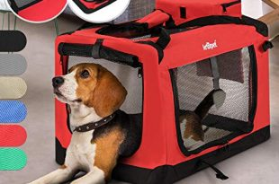 Hundebox aus Stoff S bis XXL Faltbar Tragbar Abwaschbar 310x205 - Hundebox - aus Stoff, S bis XXL, Faltbar, Tragbar, Abwaschbar, Größenwahl, Farbwahl - Hundetransportbox, Auto Transportbox, Katzenbox für Hunde, Katzen und Kleintiere (L (15.9kg/71x53x51cm), Rot)