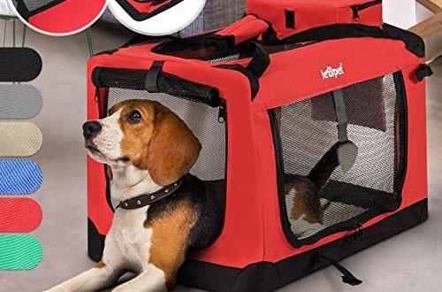 Hundebox - aus Stoff, S bis XXL, Faltbar, Tragbar, Abwaschbar, Größenwahl, Farbwahl - Hundetransportbox, Auto Transportbox, Katzenbox für Hunde, Katzen und Kleintiere (L (15.9kg/71x53x51cm), Rot)